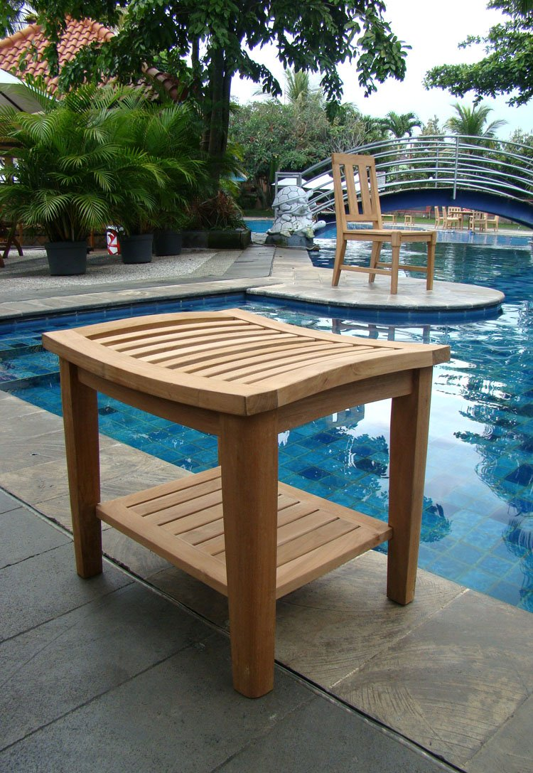 Amazon.com: Grade A Teak Wood Shower / Bath Room / Pool / Spa Stool ...