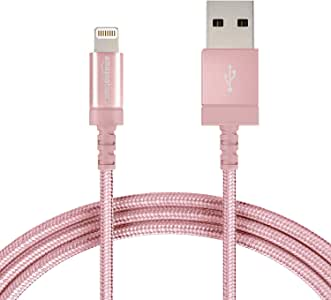 AmazonBasics Nylon Braided Lightning to USB A Cable, MFi Certified Apple iPhone Charger, Rose Gold, 6-Foot