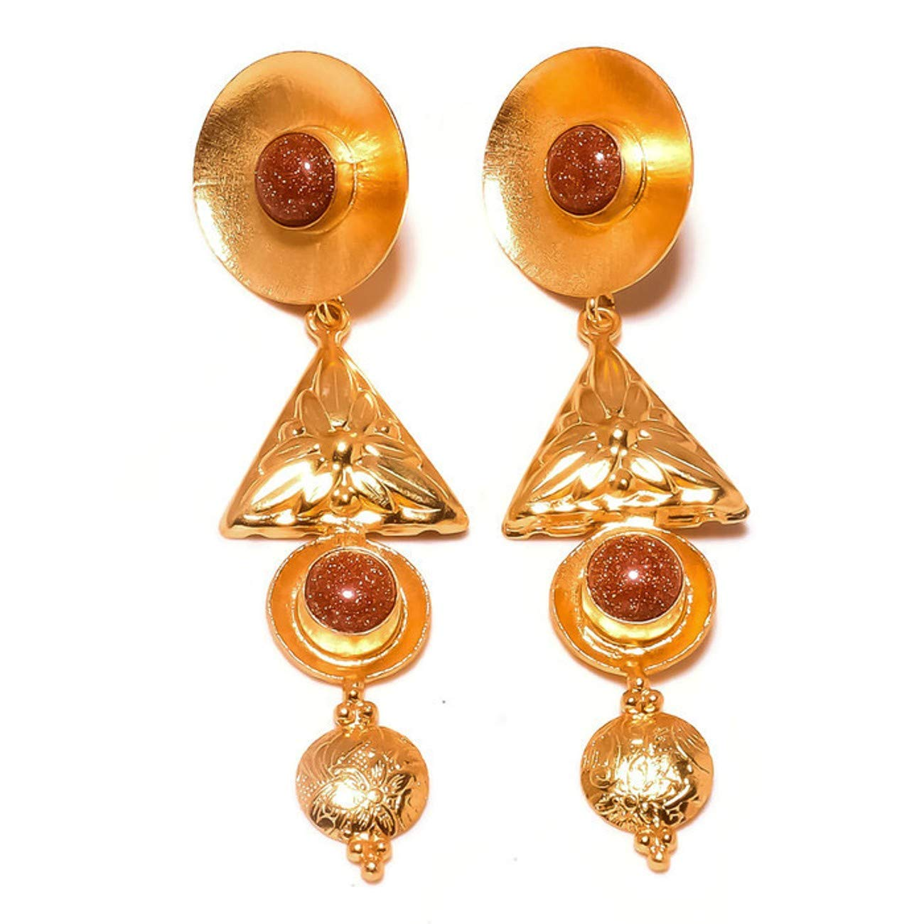 Jewels House Red Goldstone Round Gemstone Gold Plated Handmade Drop Dangle Earrings for Women
