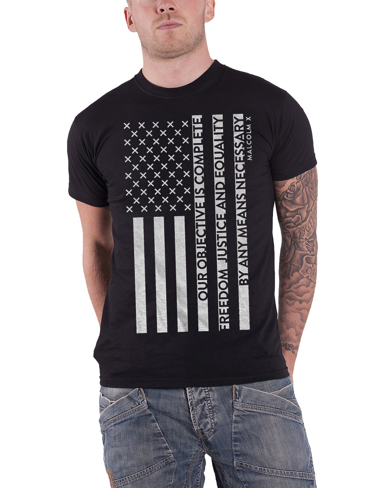 Malcolm X T Shirt Freedom Flag Mission Statement Logo Official Mens Black