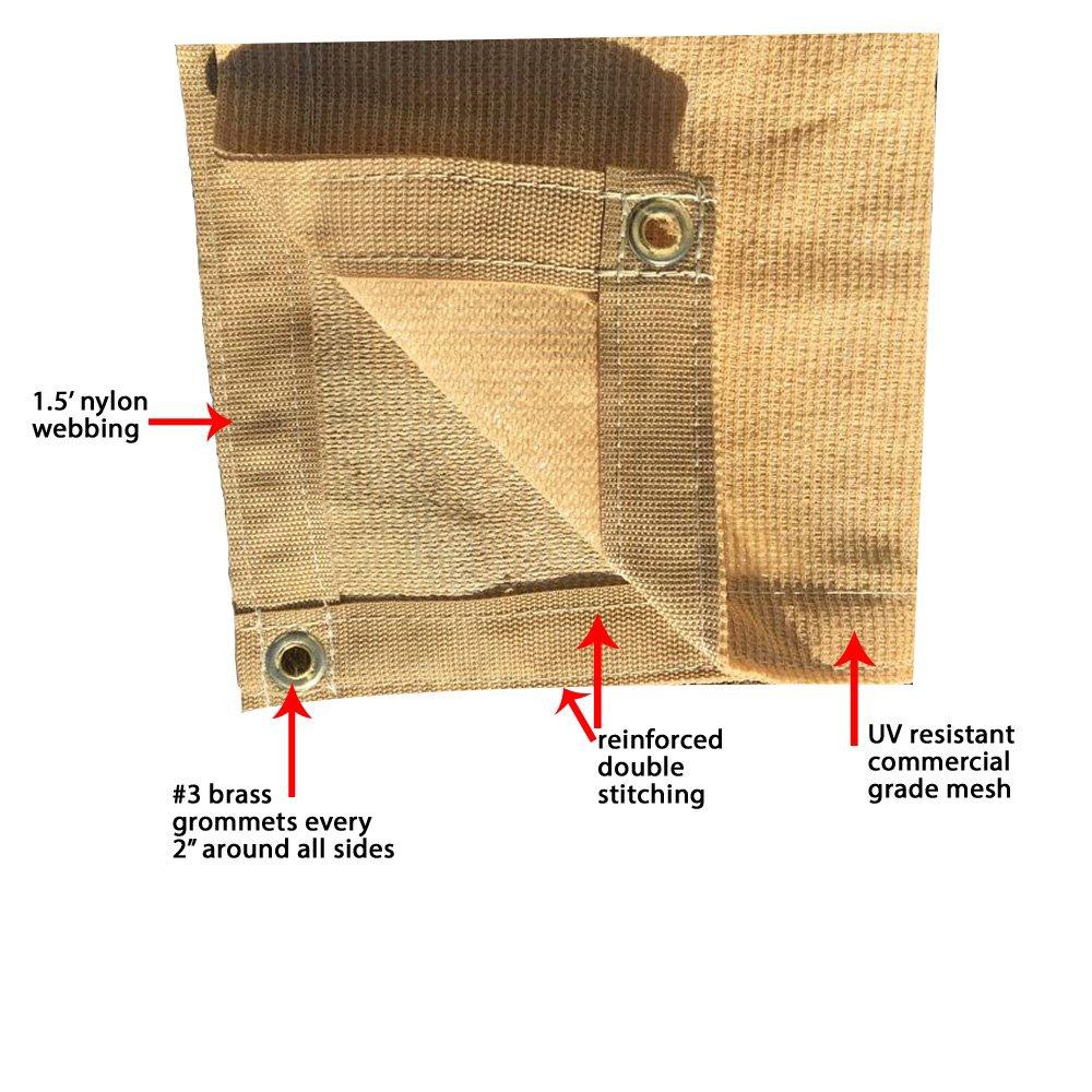 XTARPS – 10 ft. x 16 ft. – 7 OZ Premium 90 Shade Cloth, Shade Sail, Sun Shade TAN Color