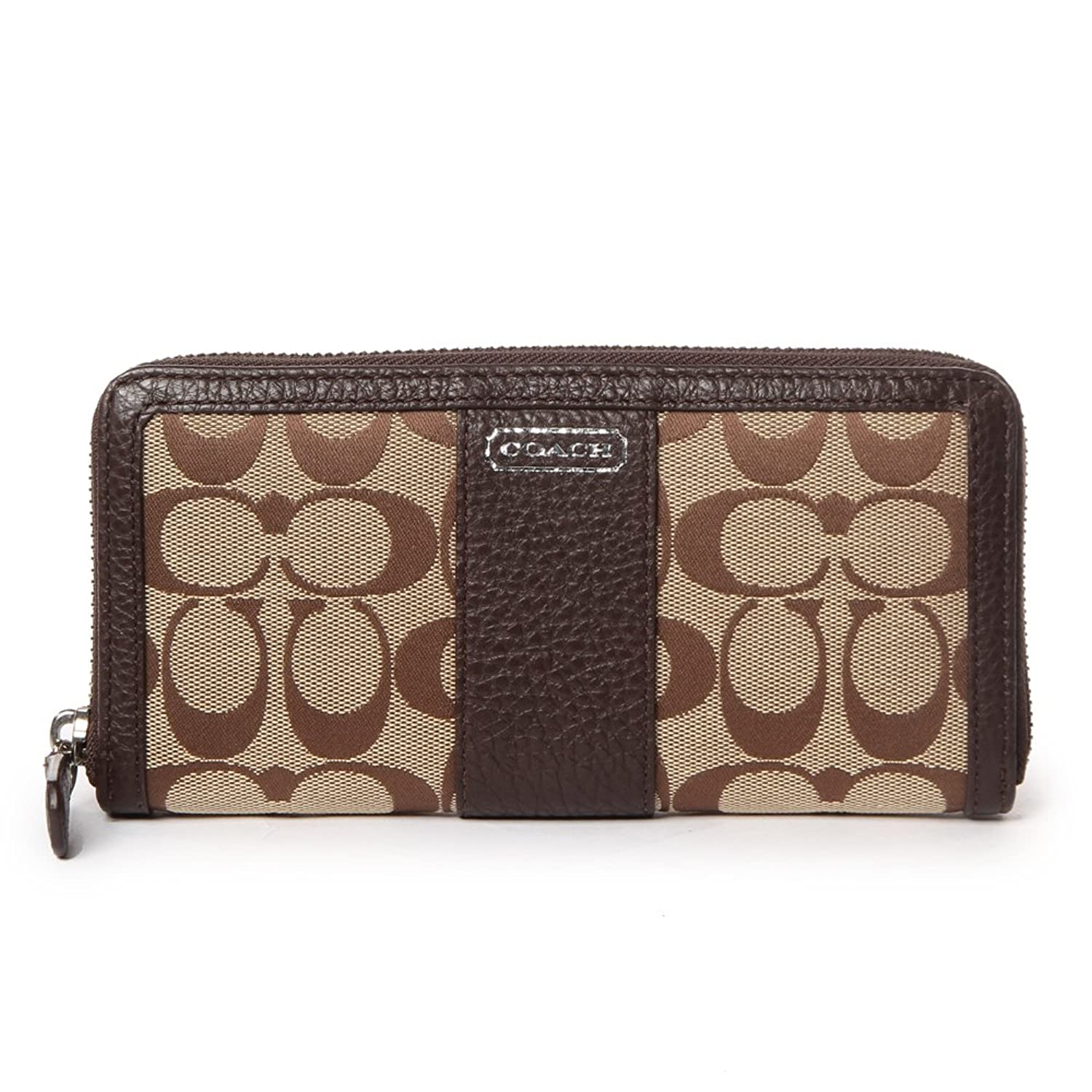 Coach 49159 Park Khaki & Mahogany Signature Accordion Zip Around Wallet