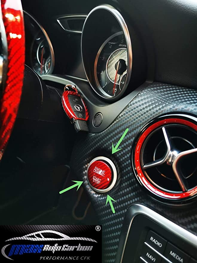 Max Auto Red Carbon Look Gfk Start Stop Button Cover For Mercedes Benz Amg A45 Cla45 Gla45 C63 C43 C63s E63 S63 Glc Auto