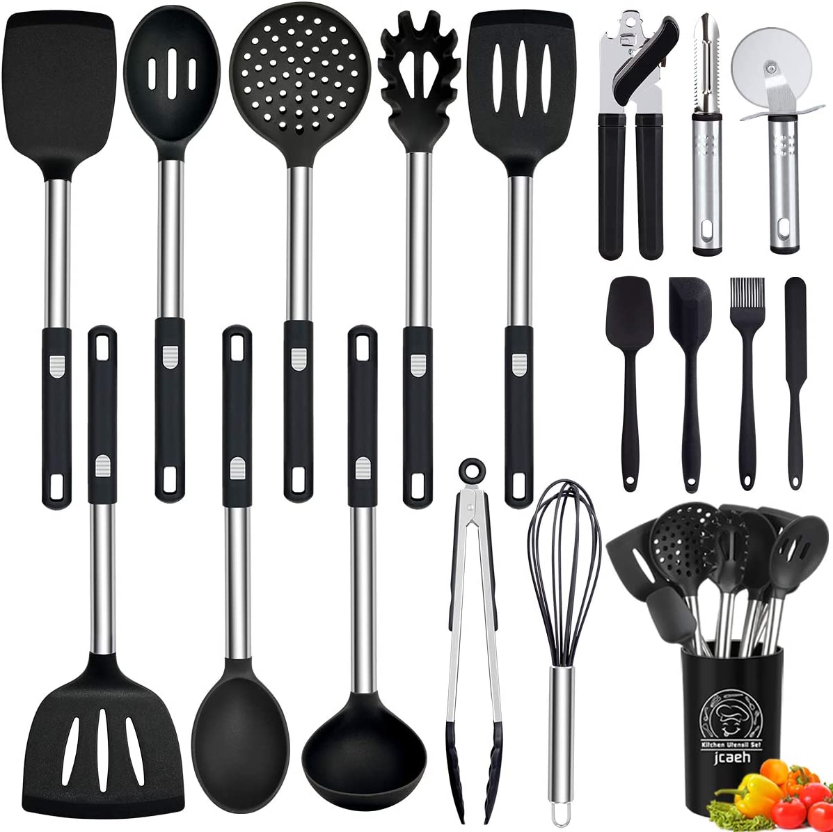 Silicone Kitchen Utensils Set, 18 Pcs Cooking Utensils Set Heat Resistant Non-stick Silicone Cookware with Stainless Steel Handle Can Opener Spatulas Pizza Cutter Kitchen Tools (BPA Free, Non Toxic)