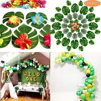 Tema de la Selva Safari Fiesta Decoraciones De Globos De Látex 174 un. hojas de palma verde..