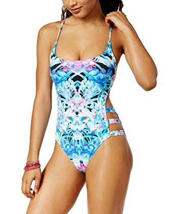 63a47d7473e99 Image Unavailable. Image not available for. Color: Bar III Womens Cutout  Lace-Up One Piece Swimsuit ...