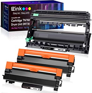 E-Z Ink (TM) Compatible Toner Cartridge and Drum Unit Replacement for Brother TN760 TN-760 TN730 TN-730 DR730 (2 Toner Cartridge, 1 Drum Unit, Black)