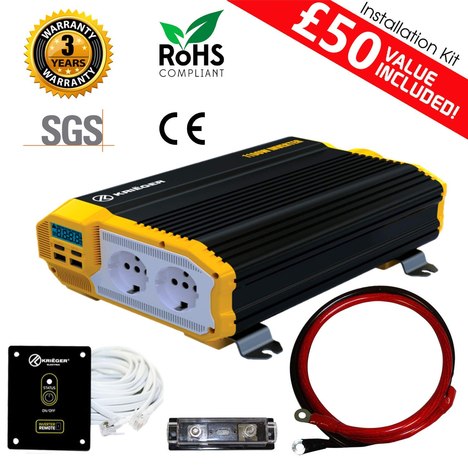 Certification CE par SGS t/él/écommande Inclus. Kri/ëger convertisseur//onduleur de Tension Onde sinuso/ïdale modifi/ée Kit d/'Installation transforme du 12V CD /à 220V CA 1100 Watt