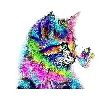 MLJ DIY Diamantgemälde, gemalte Schmetterlinge und süße Katze, Kunst  Handwerk Bilder für Wohnzimmer, Schlafzimmer, Heimdekoration, 40x40 cm-new