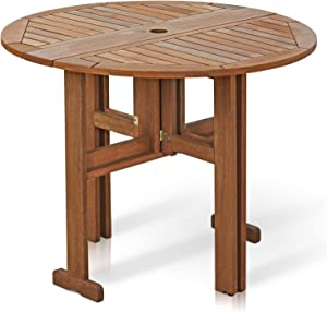 Furinno FG17035 Tioman Hardwood Patio Furniture Gateleg Round Table in Teak Oil, Natural