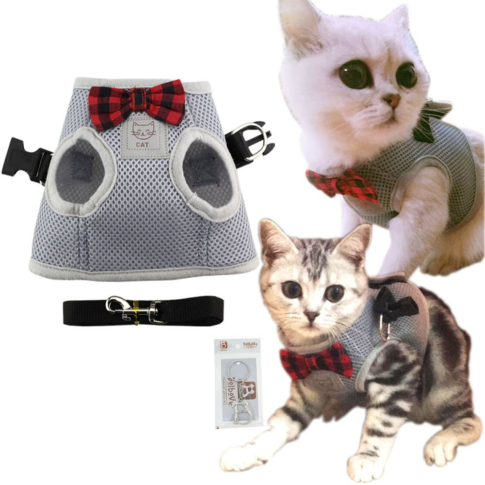 Grey Small Grey Small Bolbove Cute Kitty Bowtie Breathable Mesh Vest Harness and Leash Set for Cats (Small, Grey)