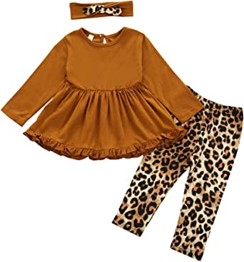 Toddler Baby Girl Ruffle Dress Set Long Sleeve Dresses Shirt Top + Floral Pants 3PCS Kids Fall Winter Outfits