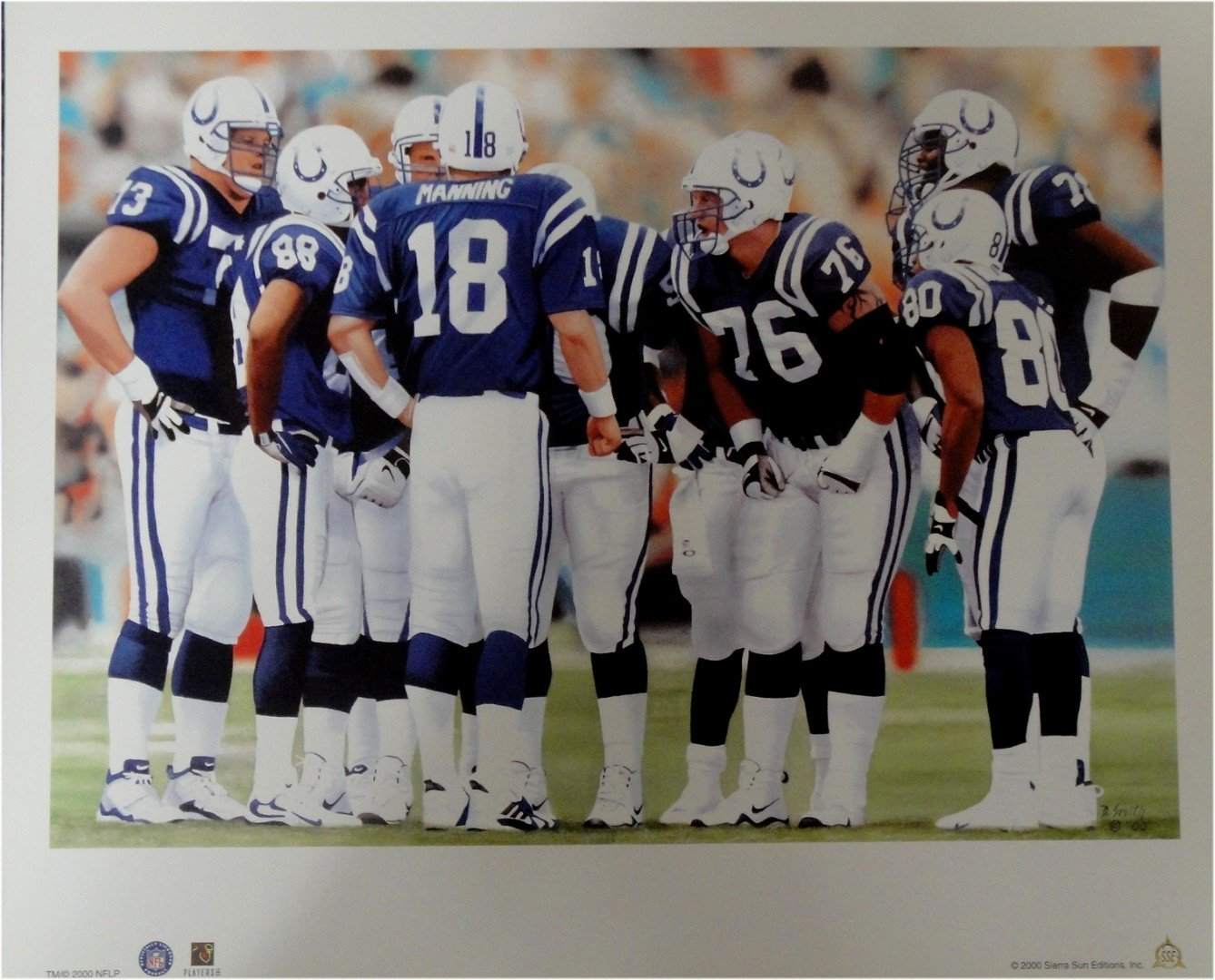 Peyton Manning 18x22 Unsigned Lithograph Poster Print Indianapolis Colts Huddle