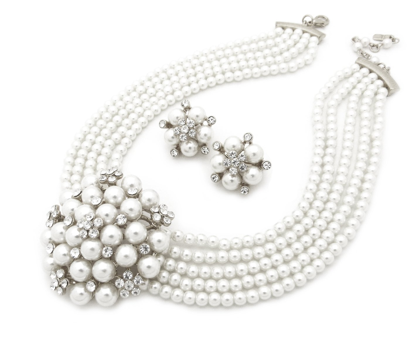 Fashion 21 5 Rows Rhinestone Accented Simulated Floral Pearl Cluster Necklace, Clip on Earring 2 Set (White)