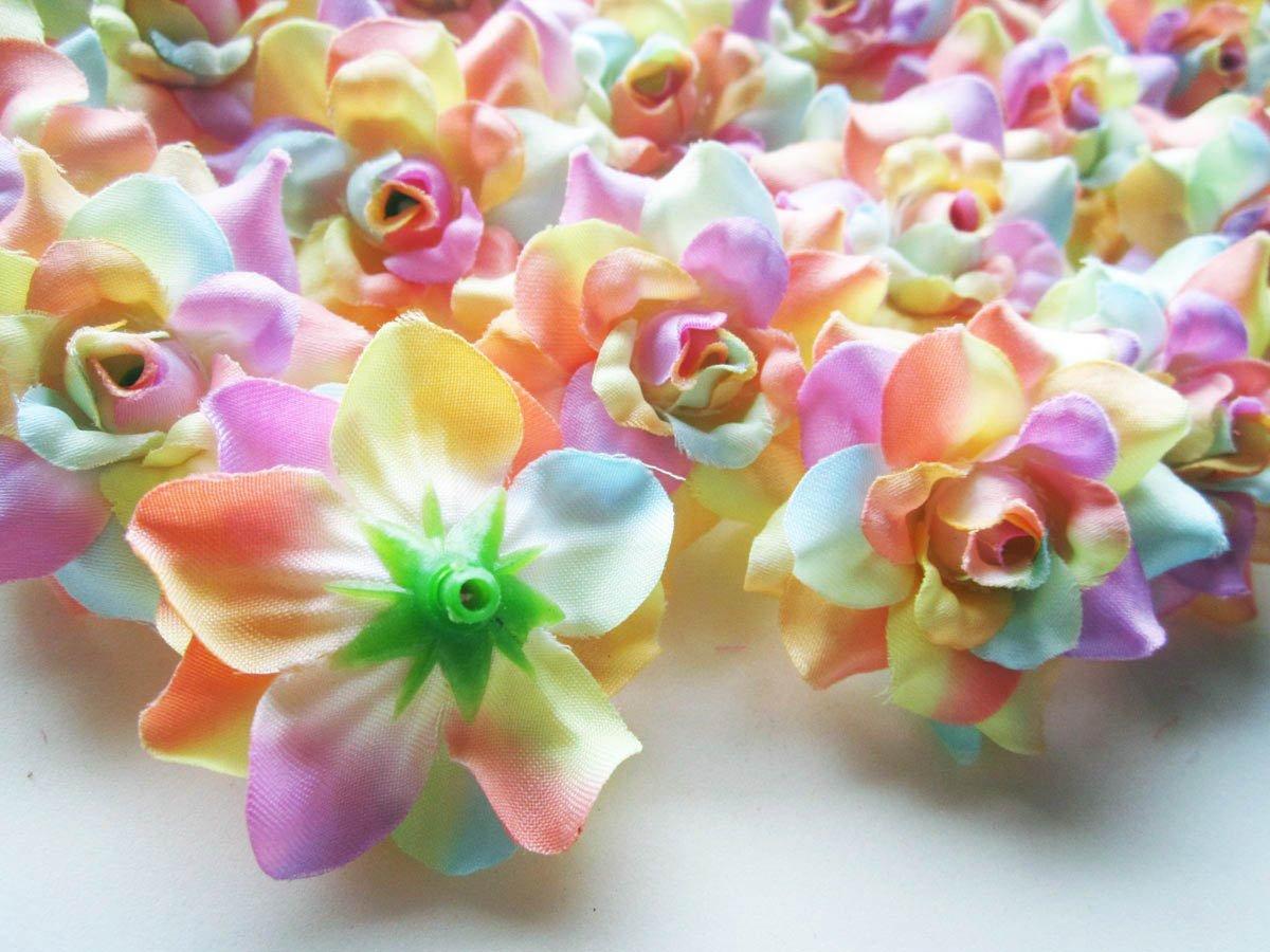 (100) Silk Light Rainbow Roses Flower Head – 1.75″ – Artificial Flowers Heads Fabric Floral Supplies Wholesale Lot for Wedding Flowers Accessories Make Bridal Hair Clips Headbands Dress