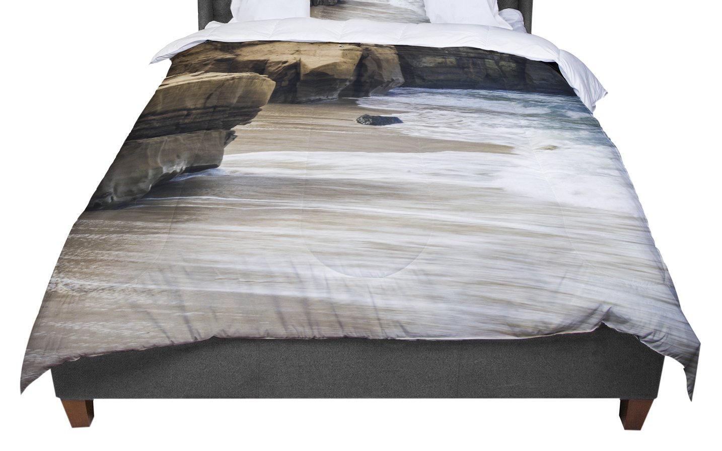 KESS InHouse Nick Nareshni 'La Jolla Cliffside' Sandstone White Photography Twin Comforter, 68' X 88'