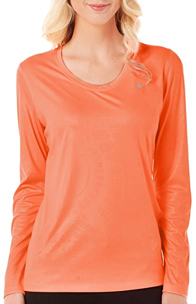 8f8c6fd7 Champion Vapor Women`s Long-Sleeve Tee, 7966, XL, Deep Sea Coral ...