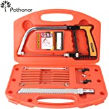 Pathonor Magic Handsaws Set, Universal Handsaw Set HSS 15-in-1 Hacksaw 12-Inch DIY Magic Saw with 8 Saw Blades for Home, Kitchen, Garden, Glass, Tile, Wood, Metal, Plastic, Ceramic