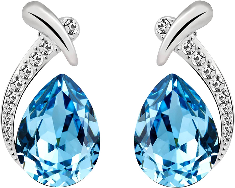 UK Ladies Designer Silver Grey Blue Teardrop Necklace Earring Set Jewellery Gift