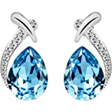 T400 Jewelers Fashion Earrings for Women Waterdrop Shape with Crystals Birthday Gift for Her