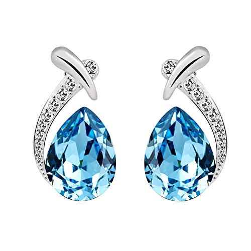 197f8f681 Amazon.com: T400 Blue Waterdrop Crystal Pendant Necklace & Stud Earrings  Jewelry Sets Birthday Gift for Women Girls: Jewelry