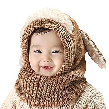 6a52273b3cba28 iCasso カワイイ ベビーニット帽 ウサギちゃん 赤ちゃん キッズ 帽子 耳保護付き 無地 柔らかい 暖かい