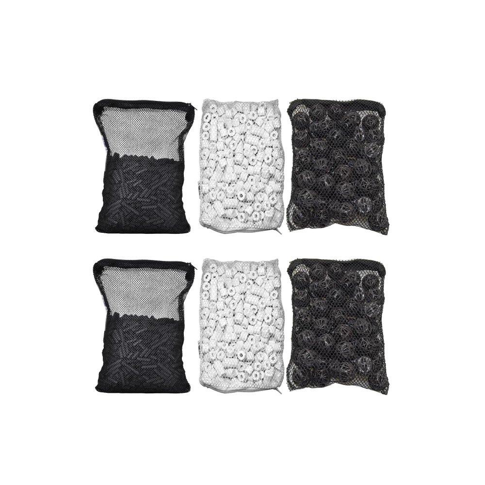 Double Pack CNZ Aquarium Filter Media Kits Activated Carbon Bio Ball Ceramic Ring, 8  L