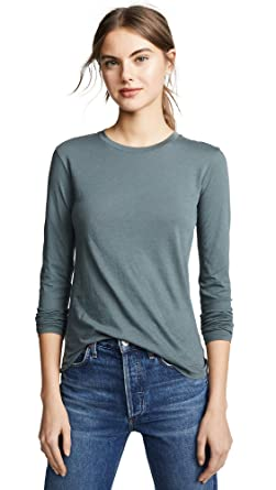 98bc102ee0 Vince Women's Essential Long Sleeve Tee, Mineral Stone, Large