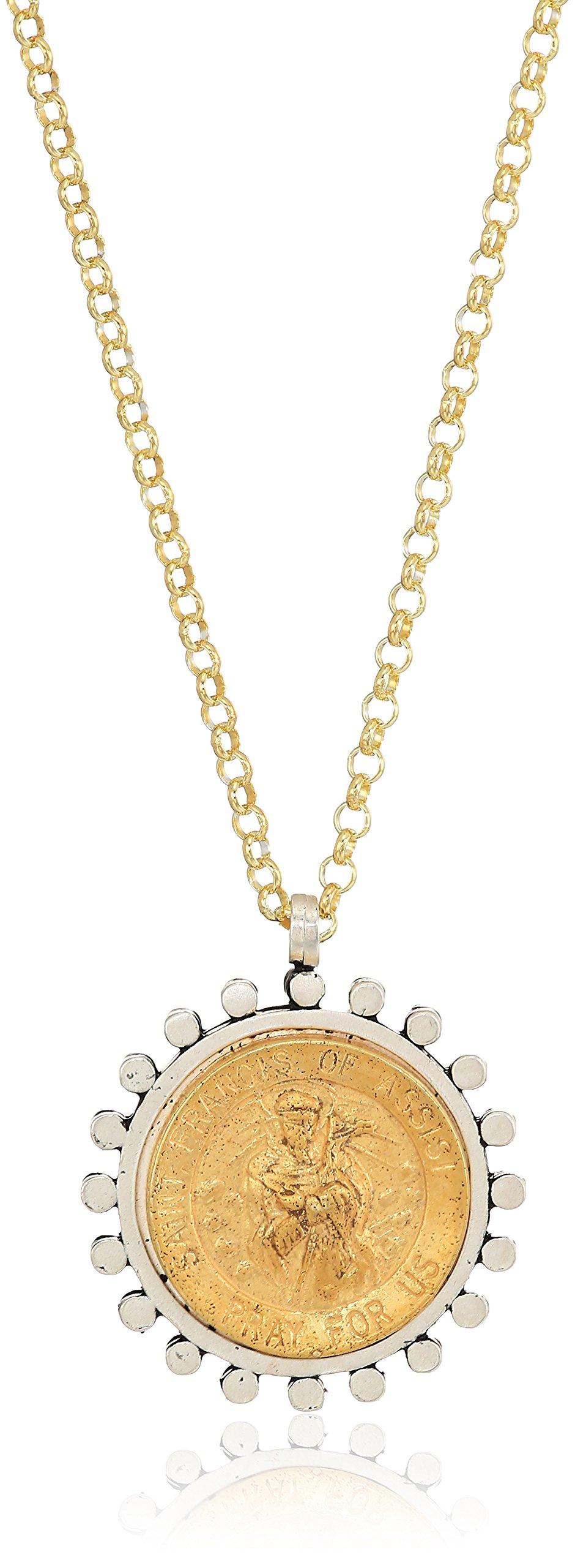 Dogeared Compassionate Heart Saint Francis 2-Tone Saint Chain Necklace, Gold, 18'' + 2'' Extension