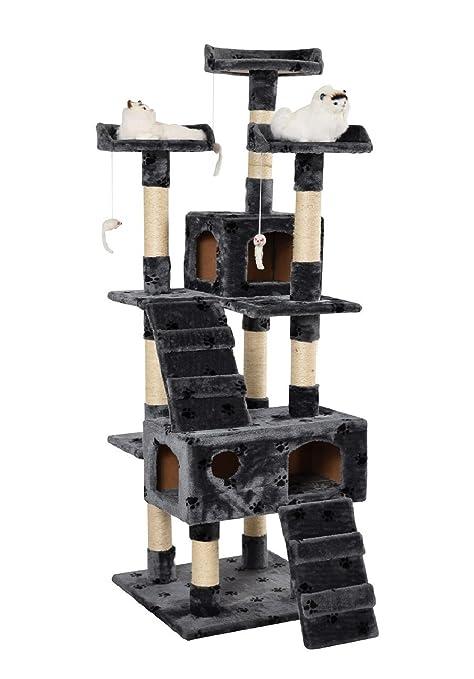 lethzer Árbol rascador, trepador para gatos, color gris, diseño con huellas de gato