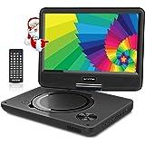 """WONNIE 11.5"""" Lecteur DVD Portable avec écran Rotatif de 9,5"""" à 270°,Carte SD et Prise USB avec Charge directe Formats/RMVB / AVI / MP3 / JPEG, Parfait pour Enfants (Noir)"""