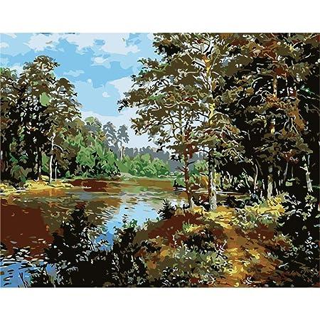 zlhcich Cuadro de Flores Pintura al óleo 977 Camino Forestal ...