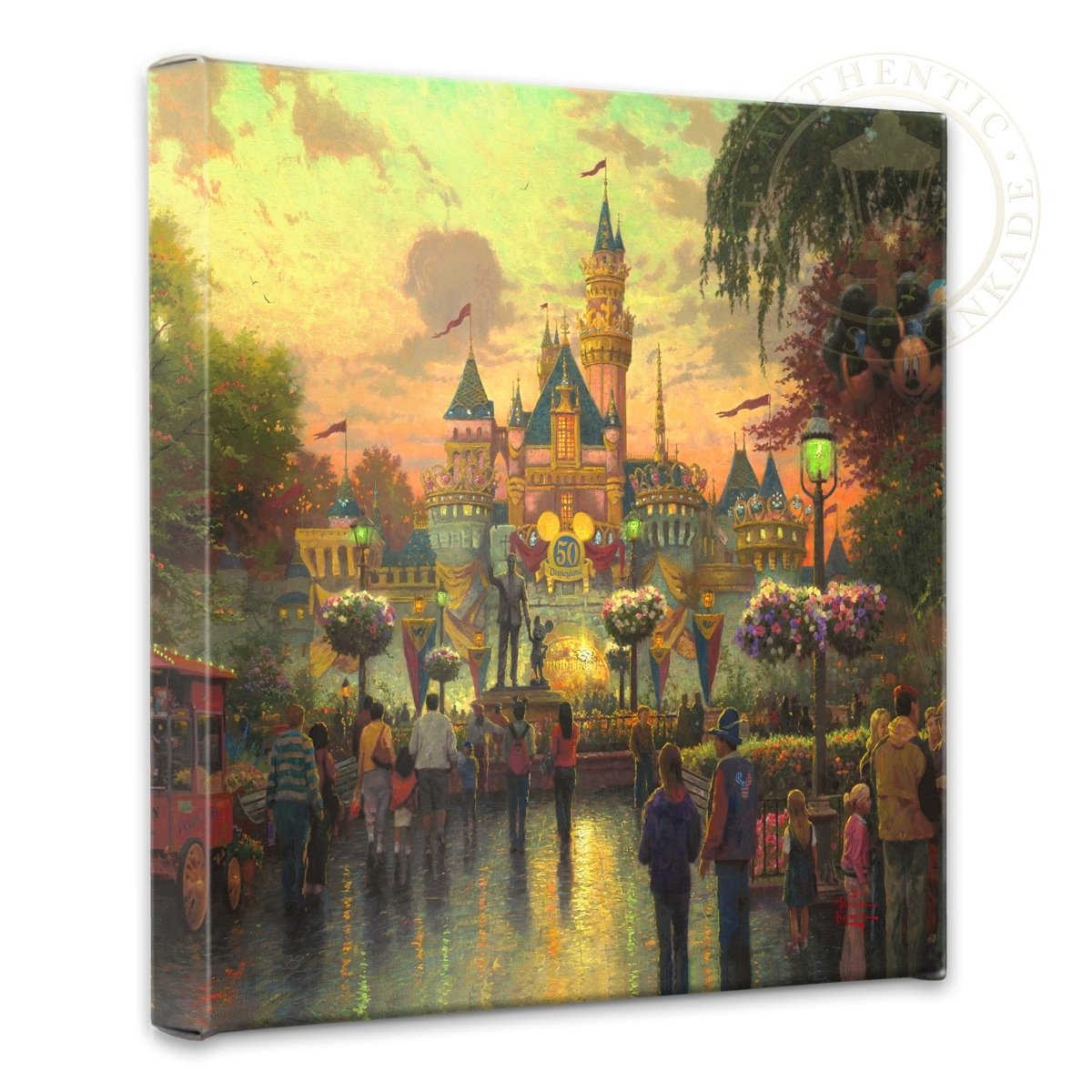 Thomas Kinkade - Gallery Wrapped Canvas , Disneyland 50th...