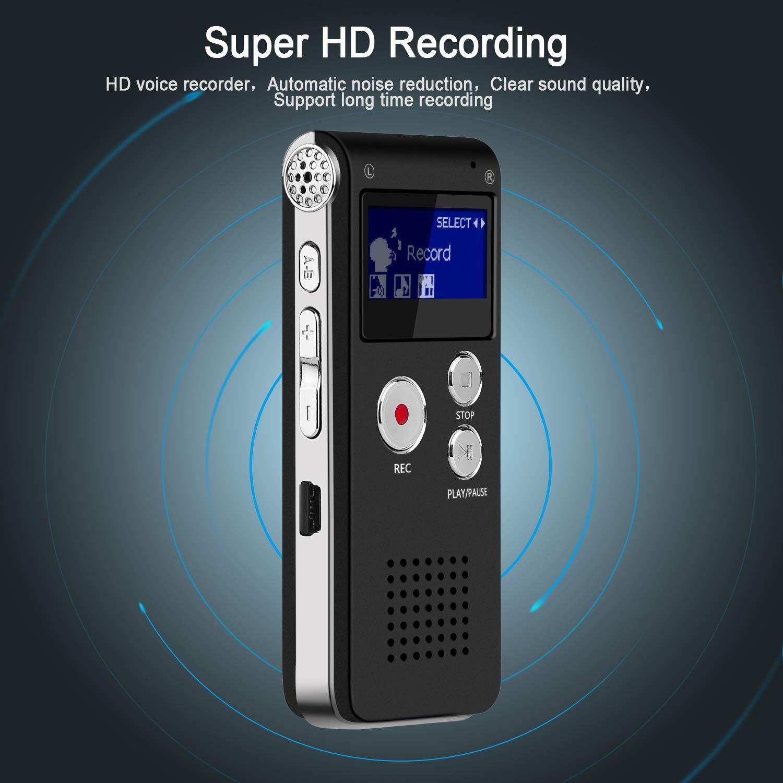 Interviews One-Touch-Aufnahme,Sprachrekorder f/ür Vortr/äge Unterricht HD Audio Recorder 3 Mode,MP3-Player Meetings Digitales Diktierger/ät,JOLVVN 8 GB Tonaufnahmeger/ät A-B-Wiederholung