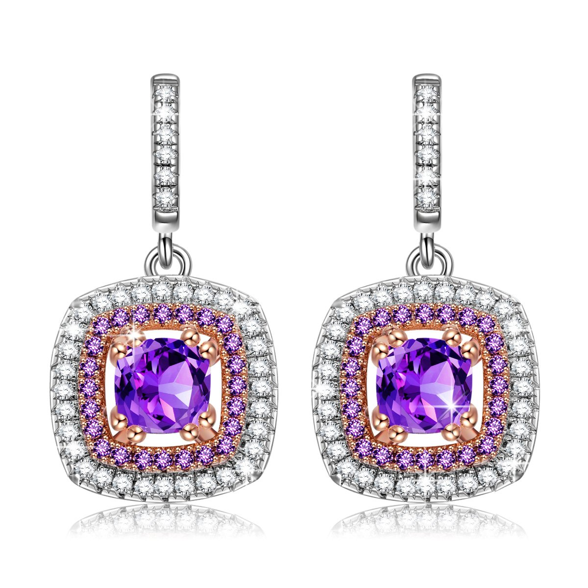NINASUN Purple CZ Earrings Gifts for Her Impression s925 Sterling Silver Dangle Earrings Fine Jewelry for Women Gifts from for Mom Birthday Gifts for Grandma Anniversary Gifts for Wife Girlfriend