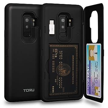 TORU CX Pro Funda Galaxy S9 Plus Carcasa Cartera con Tarjetero Oculto, Adaptador USB y Espejo para Samsung Galaxy S9 Plus - Negro Mate