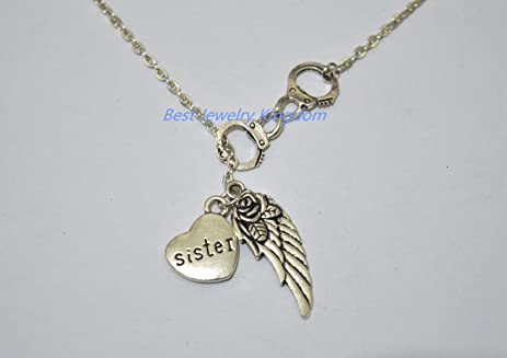 Amazon Com Handcuff Necklace Guardian Angel Sister Wing I Miss You
