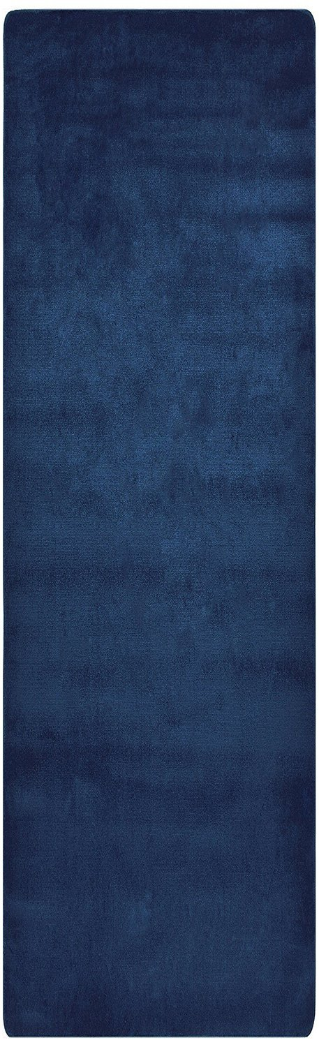 Comfy Solid Color Runner Area Rug 26 Inch Wide x Your Choice Length In 3 Color Options Slip Skid Resistant Rubber Back (Royal Navy Blue, 2'2''x8')