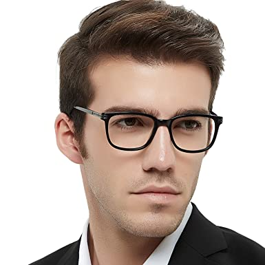 efcef955cd06 Men s RX Eyeglasses Frame Fashion Non Prescription Eyewear Rectangular  Lightweight Glasses (Black 52MM)