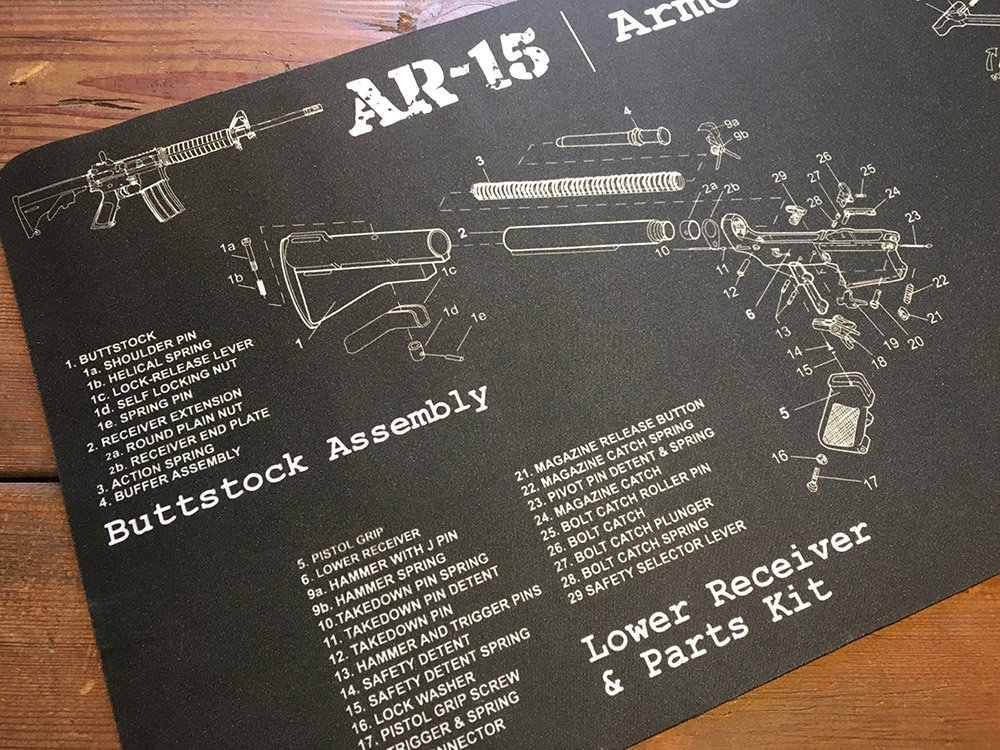 Tactical Made Large AR15 Gun Cleaning Mat, Armorers Bench Mat, 36