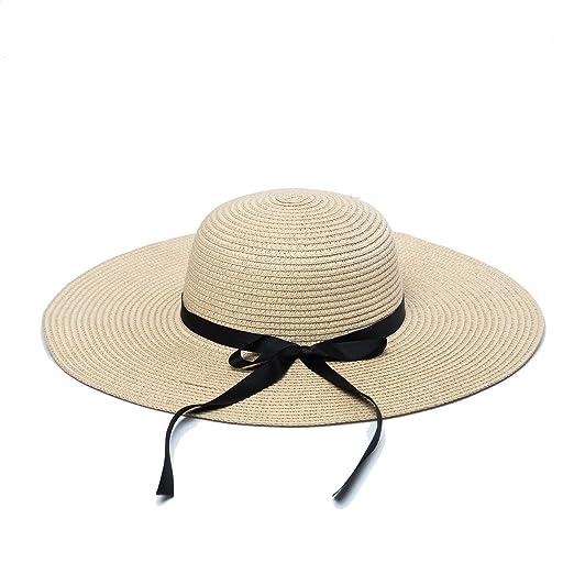 6032f79aa2c wxinmei Women s Straw Hat Floppy Foldable Summer Beach Hat Bowknot Big Brim Sun  Hat