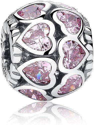 En forme Pandora Bracelets Cœur Charms Rose Cubique Sterling argent pour  Femmes