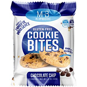 MPB Cookie Bites, Chocolate Chip, Gluten Free, Low Sugar, (Pack of 10) 20 Count