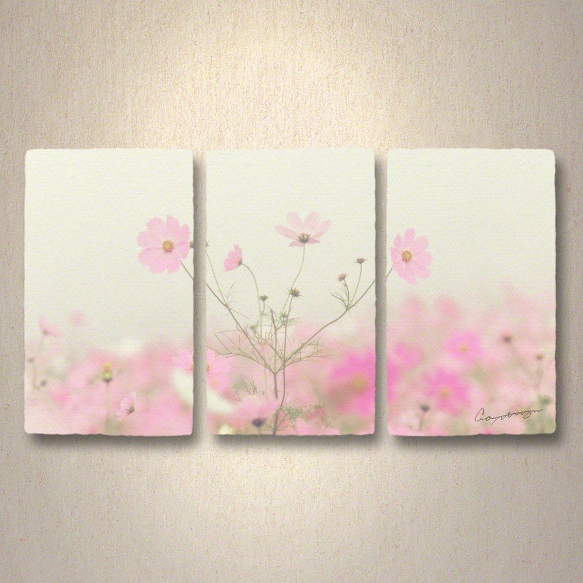 和紙 アートパネル 3枚 続き 「霧空のピンクのコスモス」 (64x36cm) 花 絵 絵画 壁掛け 壁飾り インテリア アート B076L9RFZP 32.アートパネル3枚続き(長辺64cm) 24800円|霧空のピンクのコスモス 霧空のピンクのコスモス 32.アートパネル3枚続き(長辺64cm) 24800円