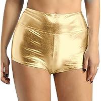 TiaoBug Women Sexy Shiny Stretchy Metallic Liquid Wet Look High Waist Dance Booty Shorts Hot Pants Bottoms