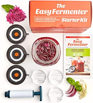 Easy Fermenter Wide Mouth Lid Kit (3 Lids + 3 Weights + Pump) – The Complete Starter Kit With Everything You Need To Begin Fermenting
