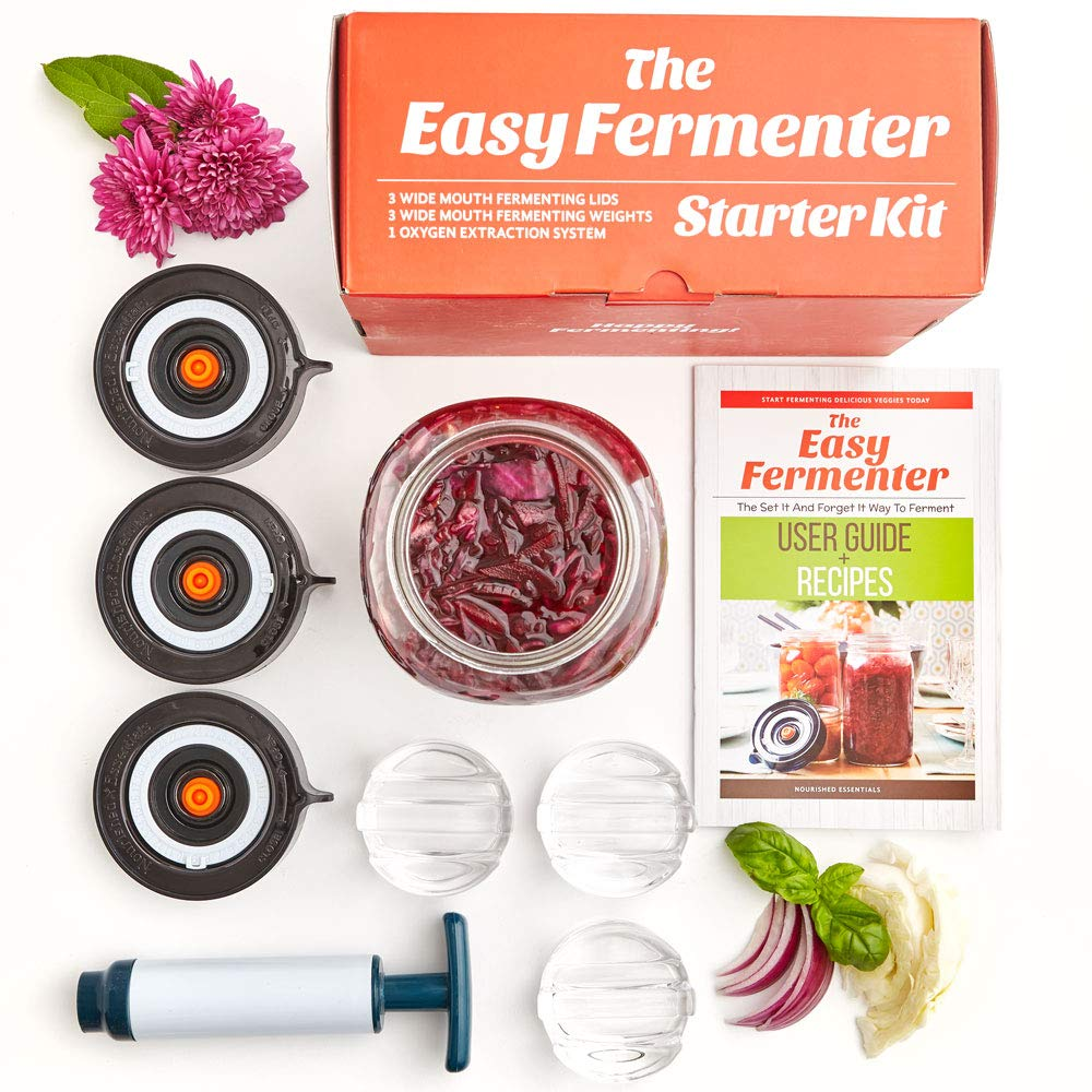 Easy Fermenter Wide Mouth Lid Kit (3 Lids + 3 Weights + Pump) - The Complete Starter Kit With Everything You Need To Begin Fermenting by Nourished Essentials (Image #1)