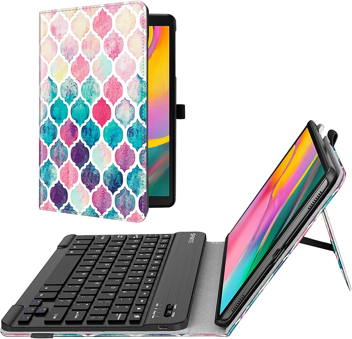Fintie Folio Keyboard Case for Samsung Galaxy Tab A 10.1 2019 Model SM-T510/T515/T517, Premium PU Leather Stand Cover with Removable Wireless Bluetooth Keyboard,Moroccan Love