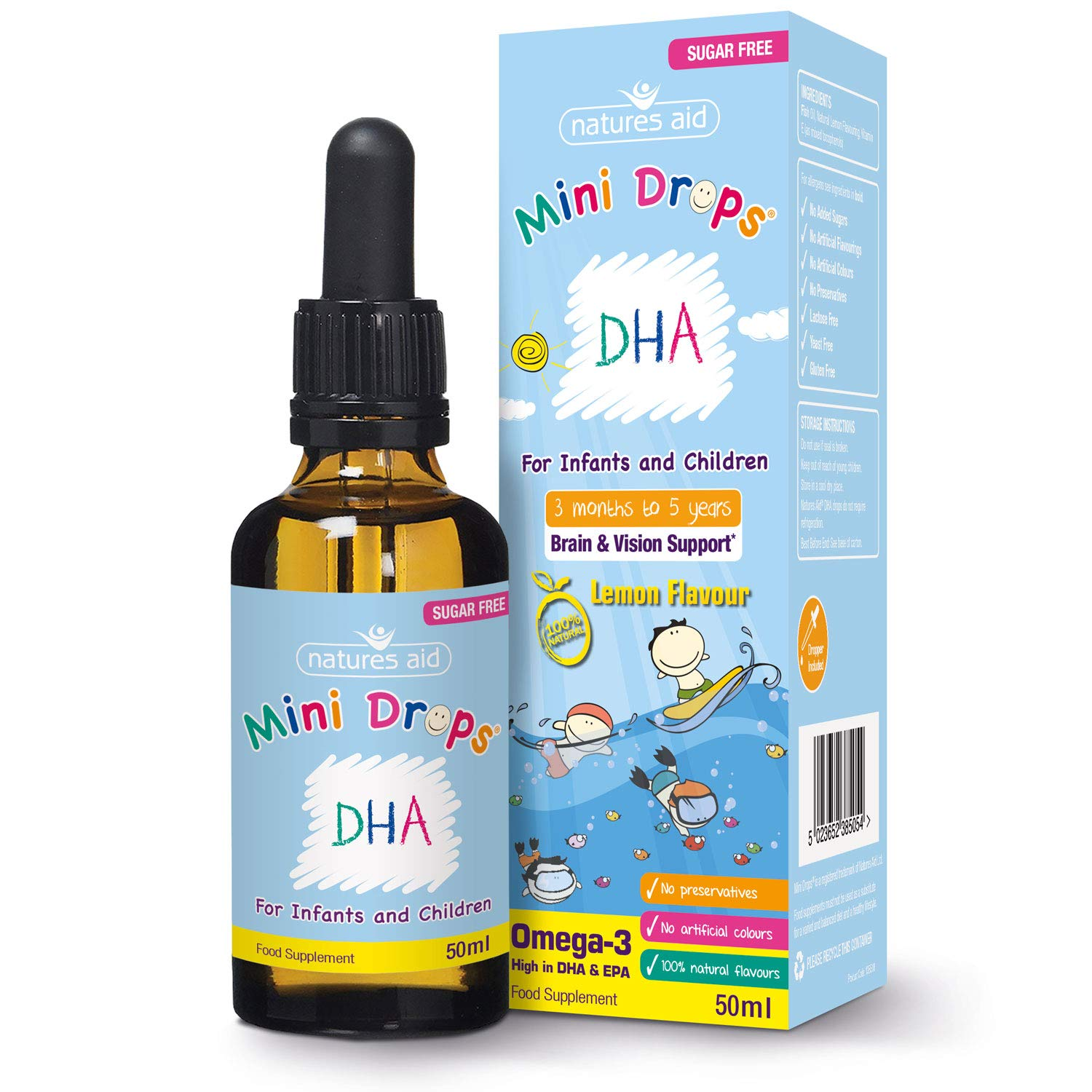 Natures Aid DHA Omega-3 Mini Drops for Infants and Children, Sugar Free, 50 ml