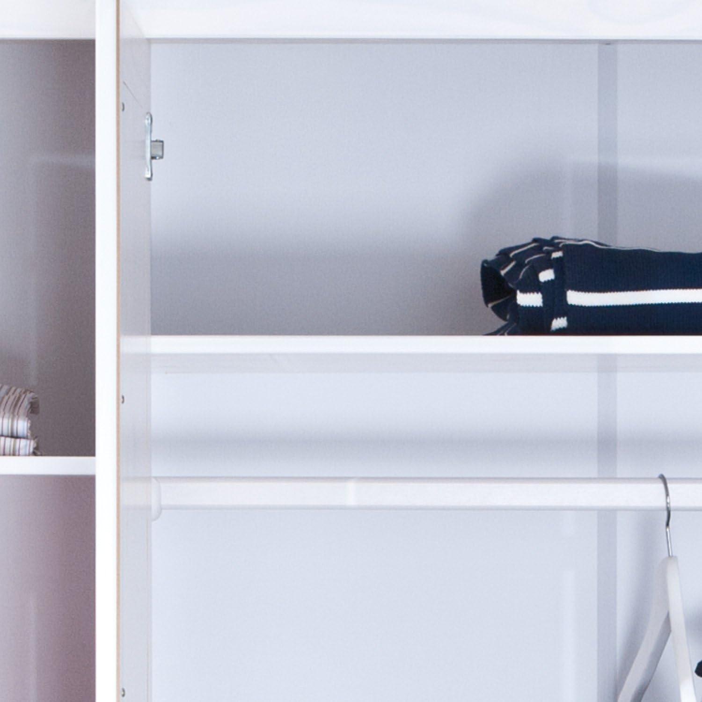 Inter Link Wardrobe floorboard More Sustainable Solid Wood White Lacquered 140 x 190 x 55 cm, 3 puertas, Blanco: Amazon.es: Hogar